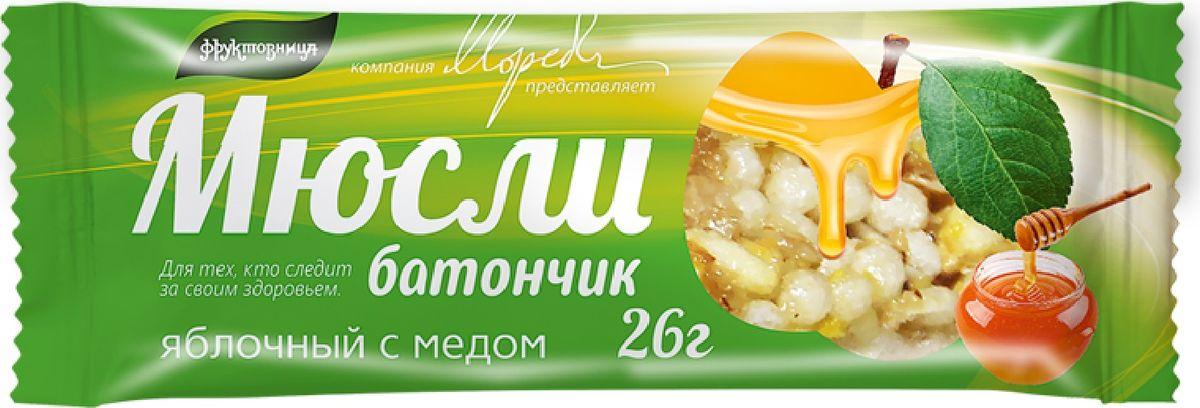 Фруктовница батончик яблочный с медом, 26 г bona vita батончик ореховый с семенами подсолнечника орехами и медом в шоколадной глазури 35 г