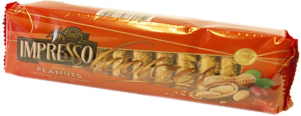 Импрессо печенье с дробленым арахисом, 190 г8241Печенье из пшеничной муки высшего сорта с добавлением сахарной пудры и арахиса дробленого, поверхность посыпана тестовой крошкой и дроблёным арахисом.