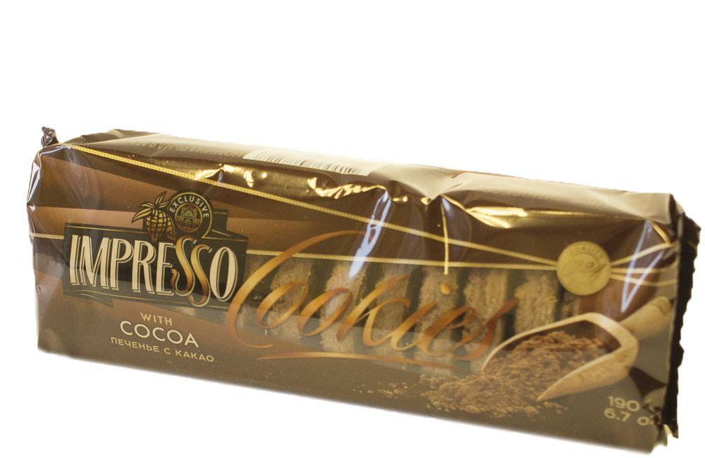 Импрессо печенье с какао, 190 г8245Печенье из пшеничной муки высшего сорта с добавлением сахарной пудры и какао-порошка, поверхность посыпана тестовой крошкой с какао-порошком.