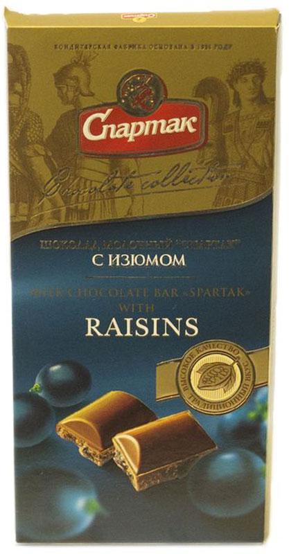 Спартак шоколад молочный с изюмом, 90 г terravita шоколад молочный с изюмом и арахисом 225 г