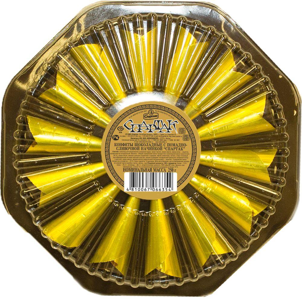 Спартак Стрела конфеты с помадно-сливочной начинкой, 250 г7309Конфеты глазированные шоколадной глазурью. Корпус - молочная помада, конусной формы, завернутые в кулечки из цветной фольги, поверхность украшена цветным кремом для отделки.