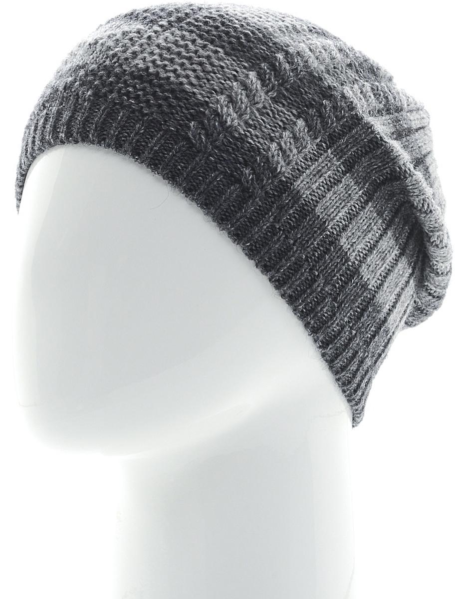 Шапка мужская Marhatter, цвет: темно-серый, серый. Размер 57/59. MMH6538/1MMH6538/1Мужская шапка выполнена из теплой пряжи с добавлением альпаки. Модель утеплена флисом.