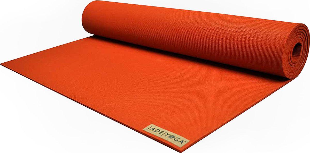 Коврик для йоги Jade Harmony, цвет: оранжевый, 180 х 60 х 0,5 смJ14Коврик для йоги Jade Jade Harmony - это незаменимый аксессуар для любого спортсмена как во время тренировки, так и во время пре-стретчинга (растяжки до тренировки) и стретчинга (растяжки после тренировки). Выполнен из высококачественного каучука. Не скользит даже в условиях высокой влажности. Коврик используется в фитнесе, йоге, функциональном тренинге. Его используют спортсмены различных видов спорта в своем тренировочном процессе. Предпочтительно использовать без обуви. Если в обуви, то с мягкой подошвой, чтобы избежать разрыва поверхности коврика.Йога: все, что нужно начинающим и опытным практикам. Статья OZON Гид