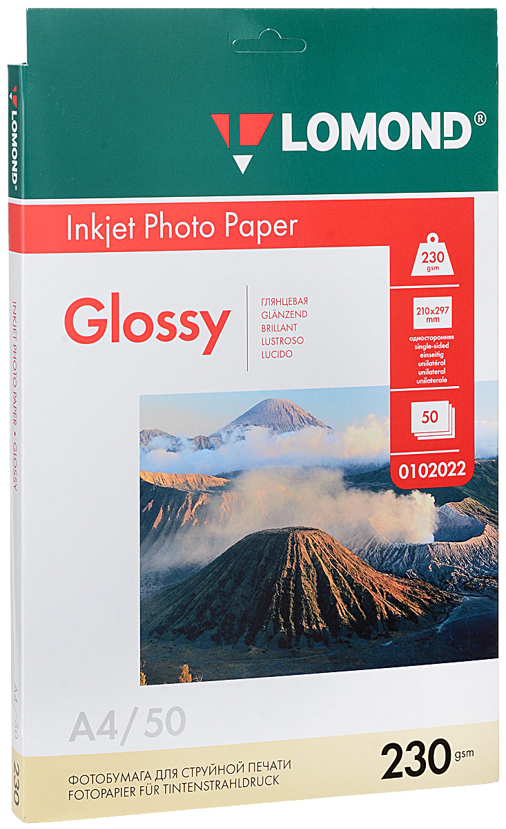 Lomond 230/A4/50л, бумага глянцевая односторонняя, 01020220102022Односторонняя глянцевая фотобумага Lomond Photo Paper для струйной печати.Глянцевые бумаги имеют гладкую блестящую поверхность. Они наилучшим образом передаютяркие, насыщенные цвета с множеством оттенков и цветовых градаций. Глянцевые бумаги по видунаиболее соответствуют фотографии. Это лучшие бумаги для печати ярких фотореалистичныхизображений. На глянцевых бумагах лучше печатать водорастворимыми чернилами. Пигментныечернила, содержащие крупные частицы, могут немного смазываться. Водорастворимые чернилабыстро впитываются и сохнут, обеспечивая насыщенное стойкое изображение.Уважаемые клиенты! Обращаем ваше внимание на то, что упаковка может иметь несколько видов дизайна.Поставка осуществляется в зависимости от наличия на складе.