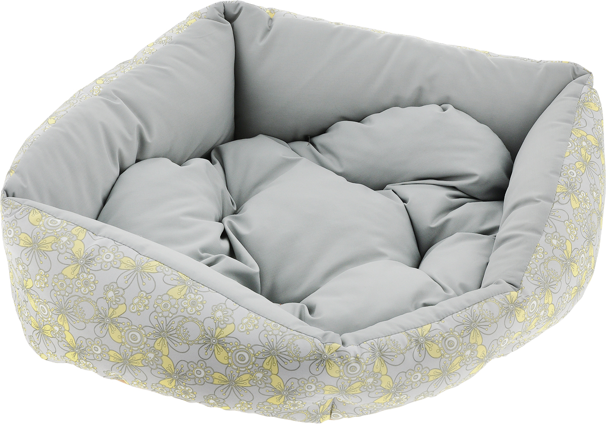 Лежак для животных Dogmoda  Визит , цвет: серый, желтый, 44 х 36 х 17 см - Лежаки, домики, спальные места