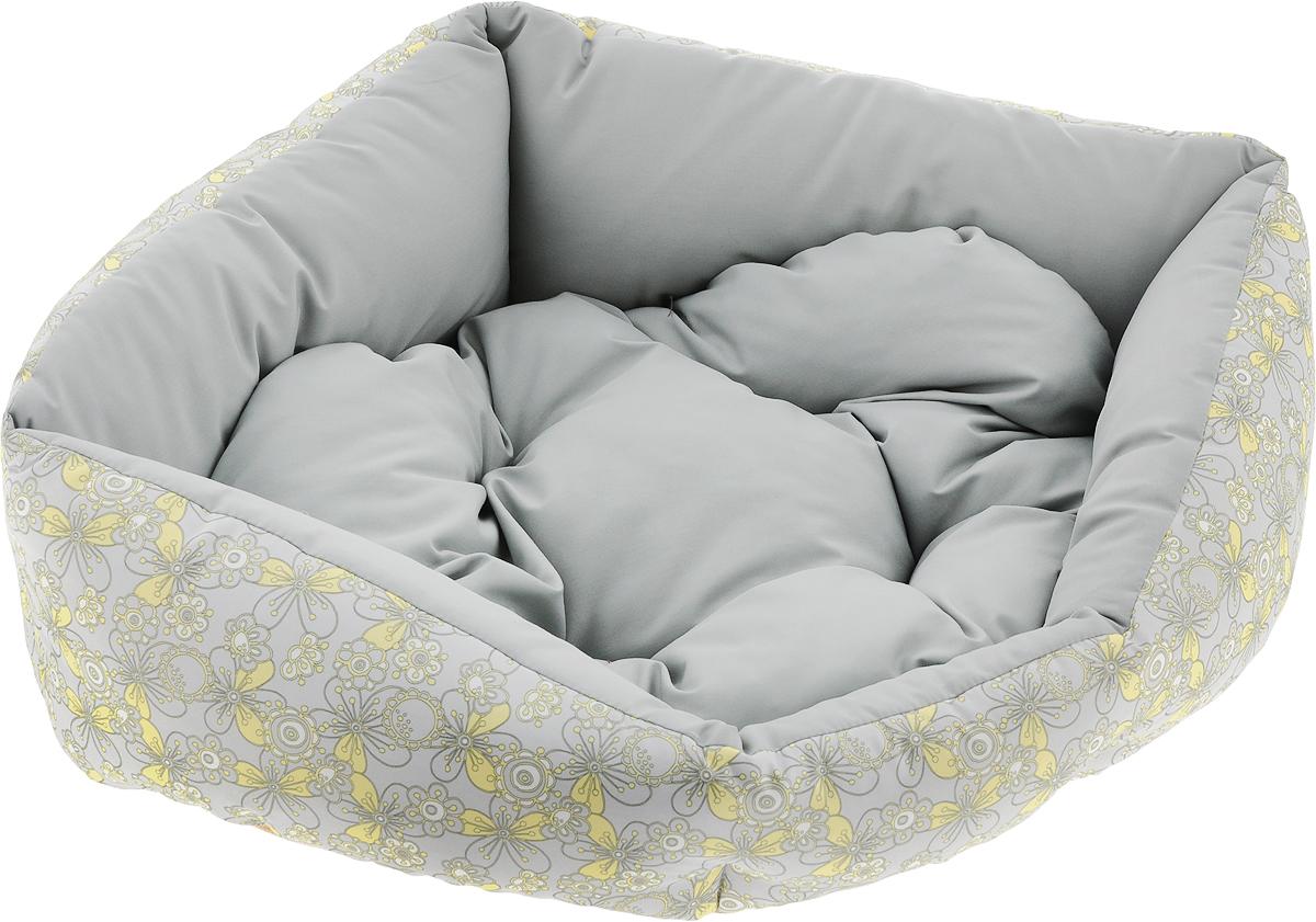 Лежак для животных Dogmoda  Визит , цвет: серый, желтый, 44 х 36 х 17 см