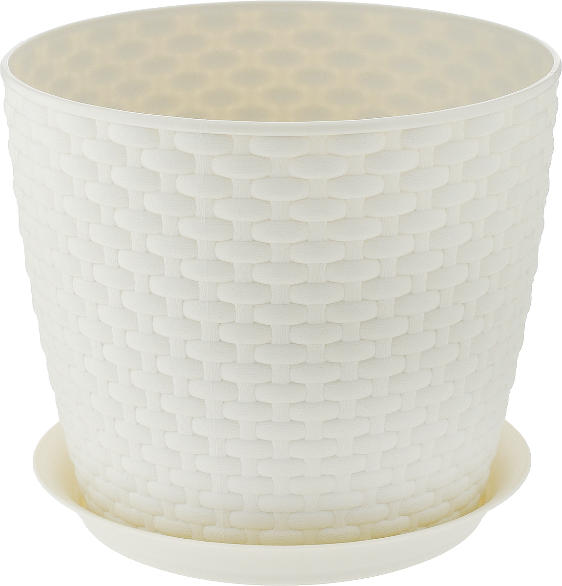 Кашпо Idea Ротанг, с поддоном, цвет: слоновая кость, 4,7 л кашпо idea верона с подставкой цвет белый диаметр 18 см