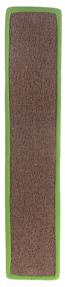 Когтеточка Грызлик Ам, с пропиткой, цвет: салатовый, коричневый, 55 х 11 см40.GR.001_салатовый, коричневыйКогтеточка Грызлик Ам предназначена для стачивания когтей вашей кошки и предотвращения их врастания. Изделие выполнено из ДВП и ковролина, края отделаны искусственным мехом. Изделие снабжено специальными отверстиями для крепления. Ковролин обеспечивает естественный уход за когтями питомца. Специальная пропитка привлекает внимание кошки, что позволяет сохранить неповрежденными мебель и другие предметы интерьера. Прямая когтеточка идеально подходит для крепления на стену.