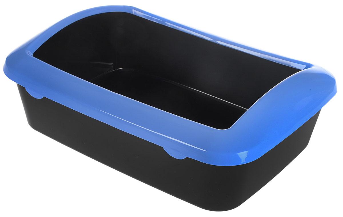 Туалет для кошек  Triol , с бортом, цвет: черный, голубой, 42 х 30 х 14,5 см - Наполнители и туалетные принадлежности