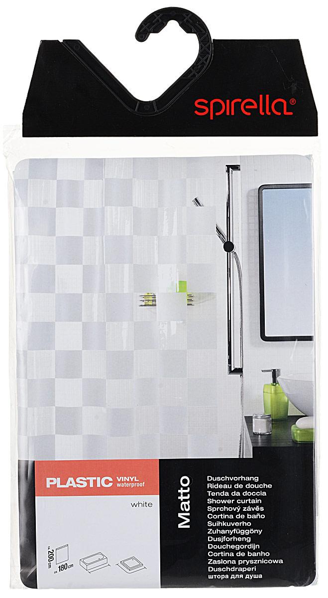 Штора для ванной комнаты Spirella Matto, цвет: белый, прозрачный, 180 х 200 см1000376Штора для ванной комнаты Matto изготовлена из полихлорвинила. Верхняя кромка имеет отверстия для колец. Штору отличает яркий красочный дизайн, высокое качество и гарантия на изделие 3 года. Изделие дополнено принтом в клетку. Сделайте вашу ванную комнату еще красивее! Штору можно стирать в стиральной машине при температуре не выше 40°С.