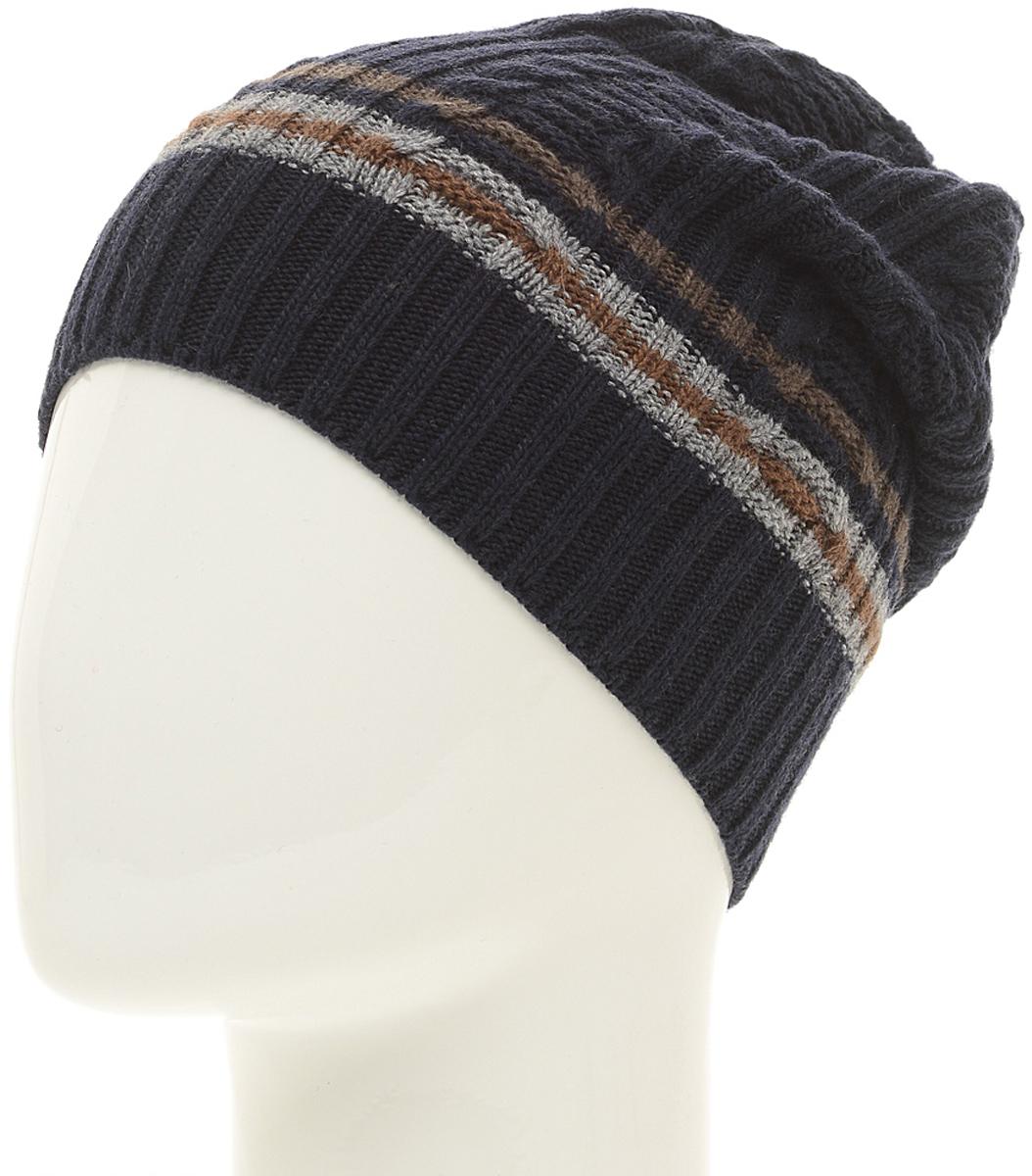 Шапка мужская Marhatter, цвет: темно-синий. Размер 57/59. MMH6591/2MMH6591/2Стильная шапка выполнена из тонкого кашемира и утеплена флисом. Идеальный вариант на каждый день.