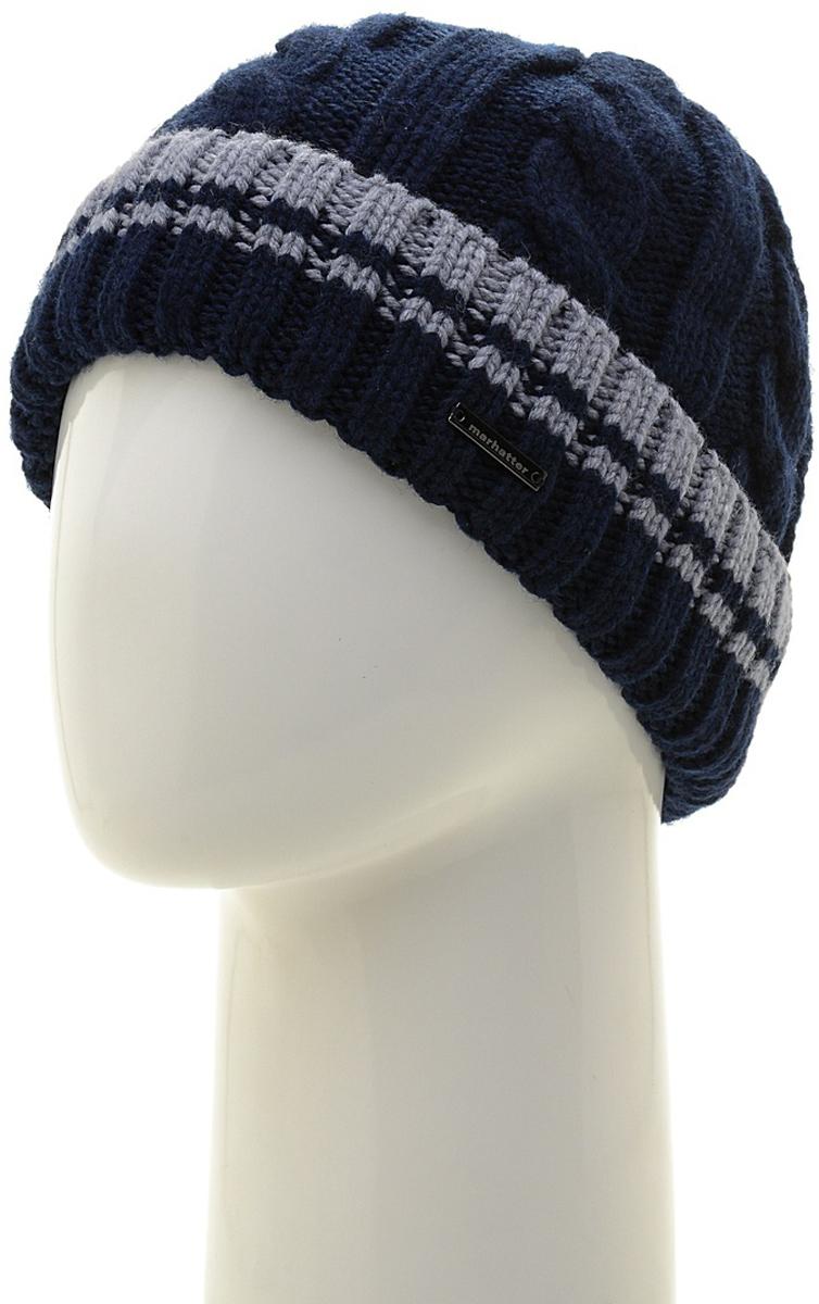 Шапка мужская Marhatter, цвет: темно-синий. Размер 57/59. MMH6954/2MMH6954/2Универсальная шапка, отлично подходит под любой стиль одежды. Сдержанный строгий дизайн, деликатная отделка и классические цвета.