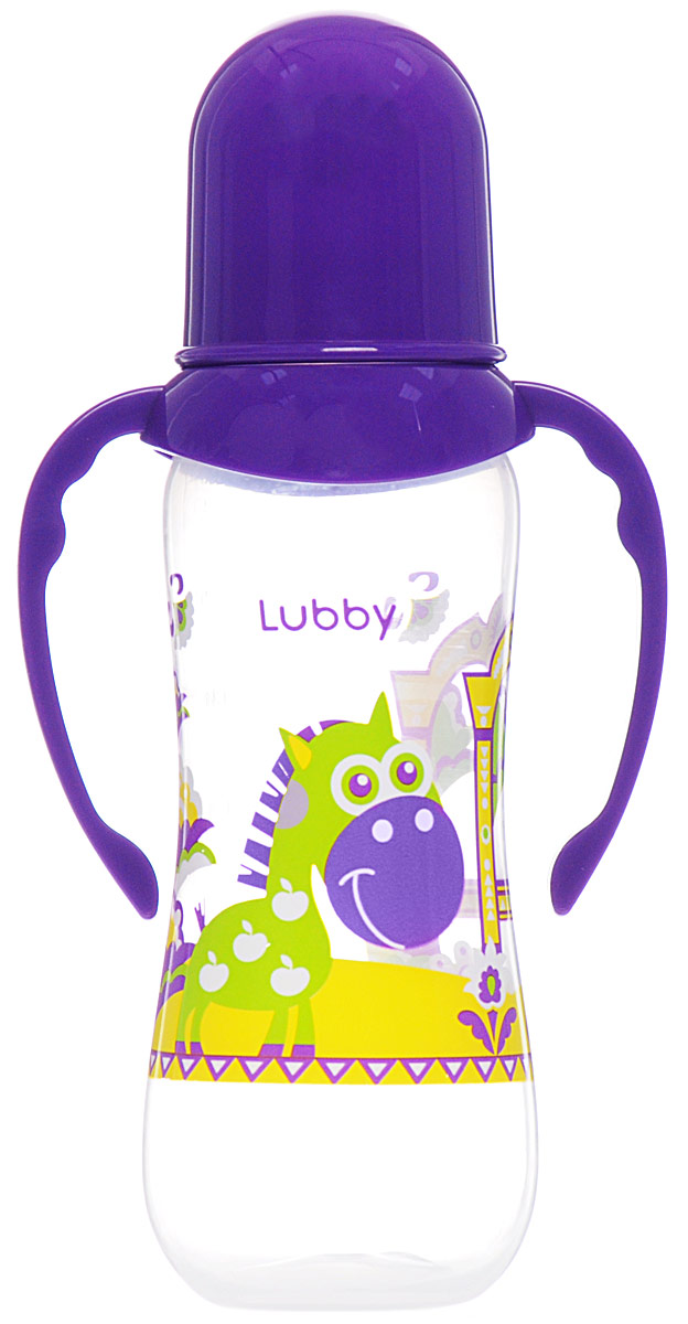 Lubby Бутылочка для кормления Русские мотивы от 0 месяцев цвет фиолетовый желтый 240 мл