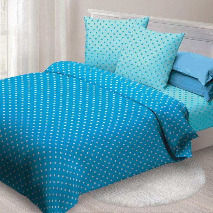 Комплект белья Спал Спалыч Бетти, 2-спальный, наволочки 70x70, цвет: голубой, бирюзовый. 4080-282451Комплект белья Спал Спалыч Бетти изготовлен из бязи (100% хлопок). Материал отличается мягкостью, яркостью цвета и устойчивостью к многократным стиркам. Ткань обработана по технологии PERFECT WAY, благодаря чему она становится более гладкой и шелковистой. Комплект включает 2 наволочки, пододеяльник и простыню. Комплект дополнен принтом в горошек.