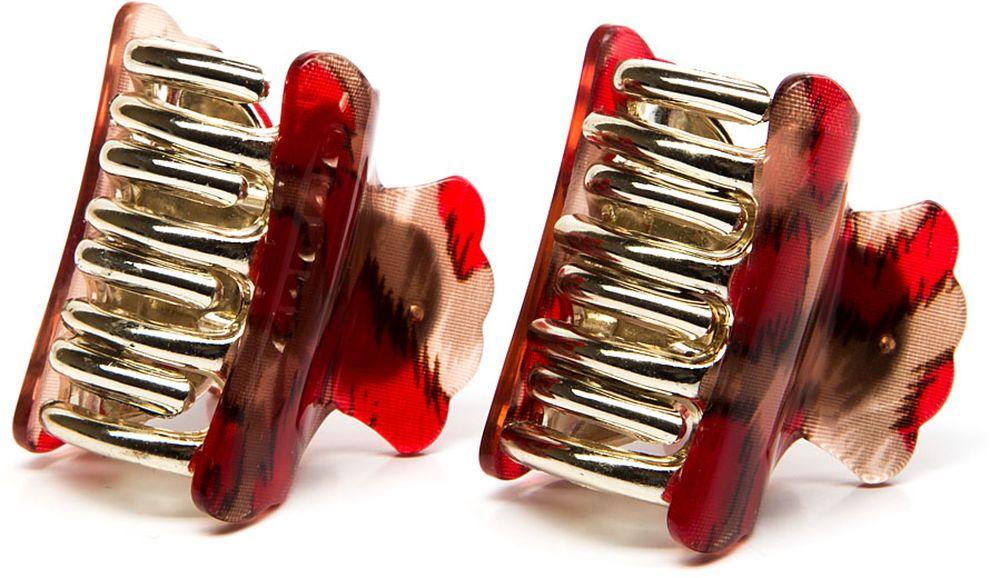 Заколка-краб женская Elisabeth, цвет: красный, 2 шт. 378629/02-02 крабы bizon заколка зажим шляпа