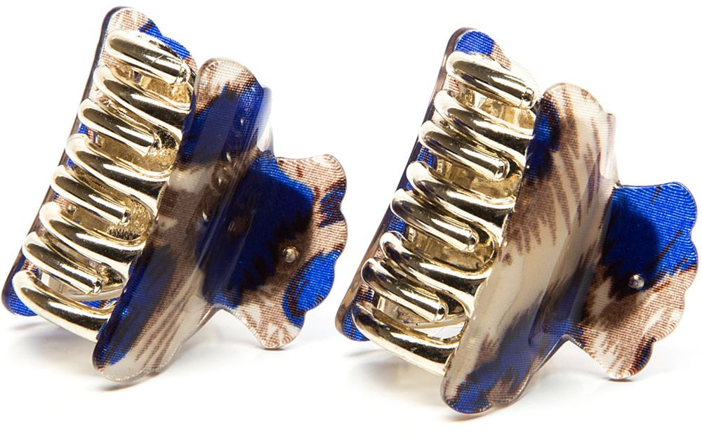 Заколка-краб женская Elisabeth, цвет: синий, 2 шт. 378629/02-04 крабы bizon заколка зажим шляпа