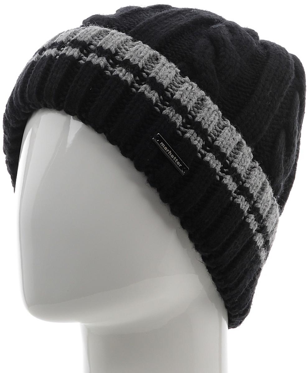 Шапка мужская Marhatter, цвет: черный, серый. Размер 57/59. MMH6954/2MMH6954/2Универсальная шапка, отлично подходит под любой стиль одежды. Сдержанный строгий дизайн, деликатная отделка и классические цвета.