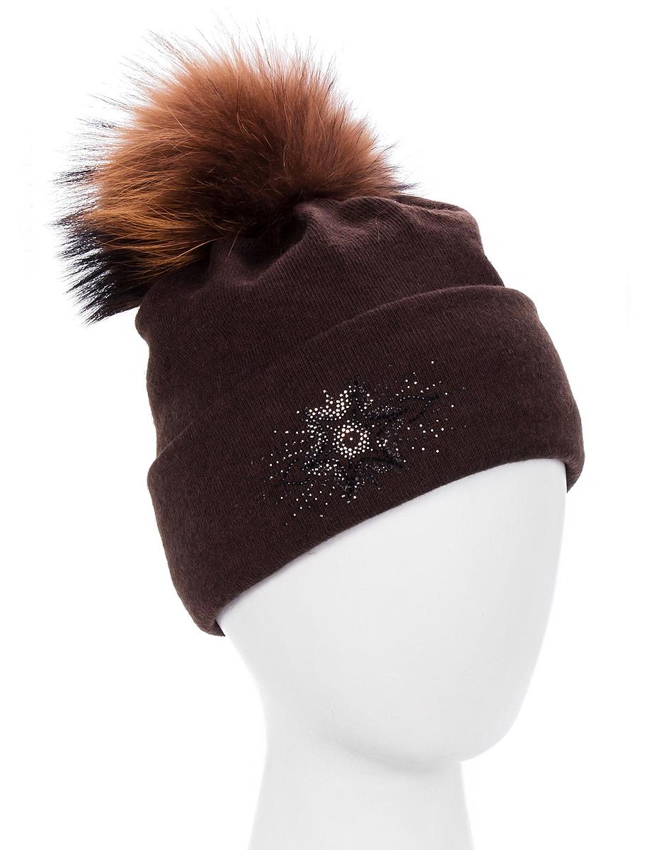 Шапка женская Level Pro Флорант, цвет: темно-коричневый. 999338. Размер 56/58999338Вязаная шапка Level Pro Флорант отлично дополнит ваш образ в холодную погоду. Модель выполнена из высококачественной пряжи. Для комфорта и тепла внутри шапки предусмотрена мягкая флисовая подкладка. Шапка дополнена пушистым помпоном из натурального меха на макушке. Изделие украшено узором из стразов. Такая шапка станет модным и стильным дополнением вашего гардероба, в ней вам будет уютно и тепло!