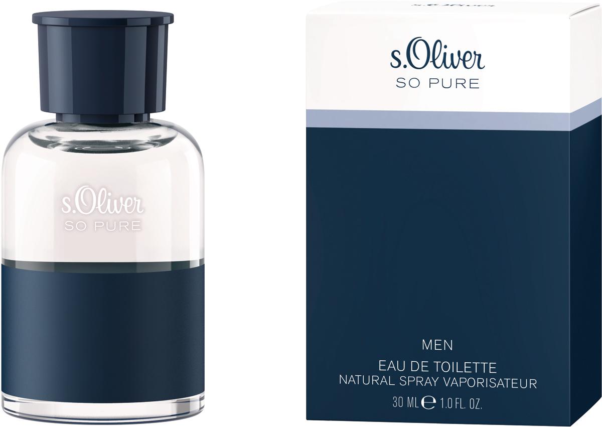 S.oliver So Pure Туалетная вода мужская, 30 мл4011700885008Предельный минимализм в дизайне флакона – обдуманный шаг. Ничто не должно отвлекать его владельца от самого аромата, изысканного и в то же время комфортного. На старте композиция s.Oliver So Pure Men освежает мужскую кожу ярким сочетанием нот бергамота, зеленого яблока и кардамона; в сердце она раскрывается цветочными, бархатисто-пряными оттенками лаванды, фиалки и герани, а завершается – сдержанными, мужественными и сильными аккордами кедра, сандала и амбры.