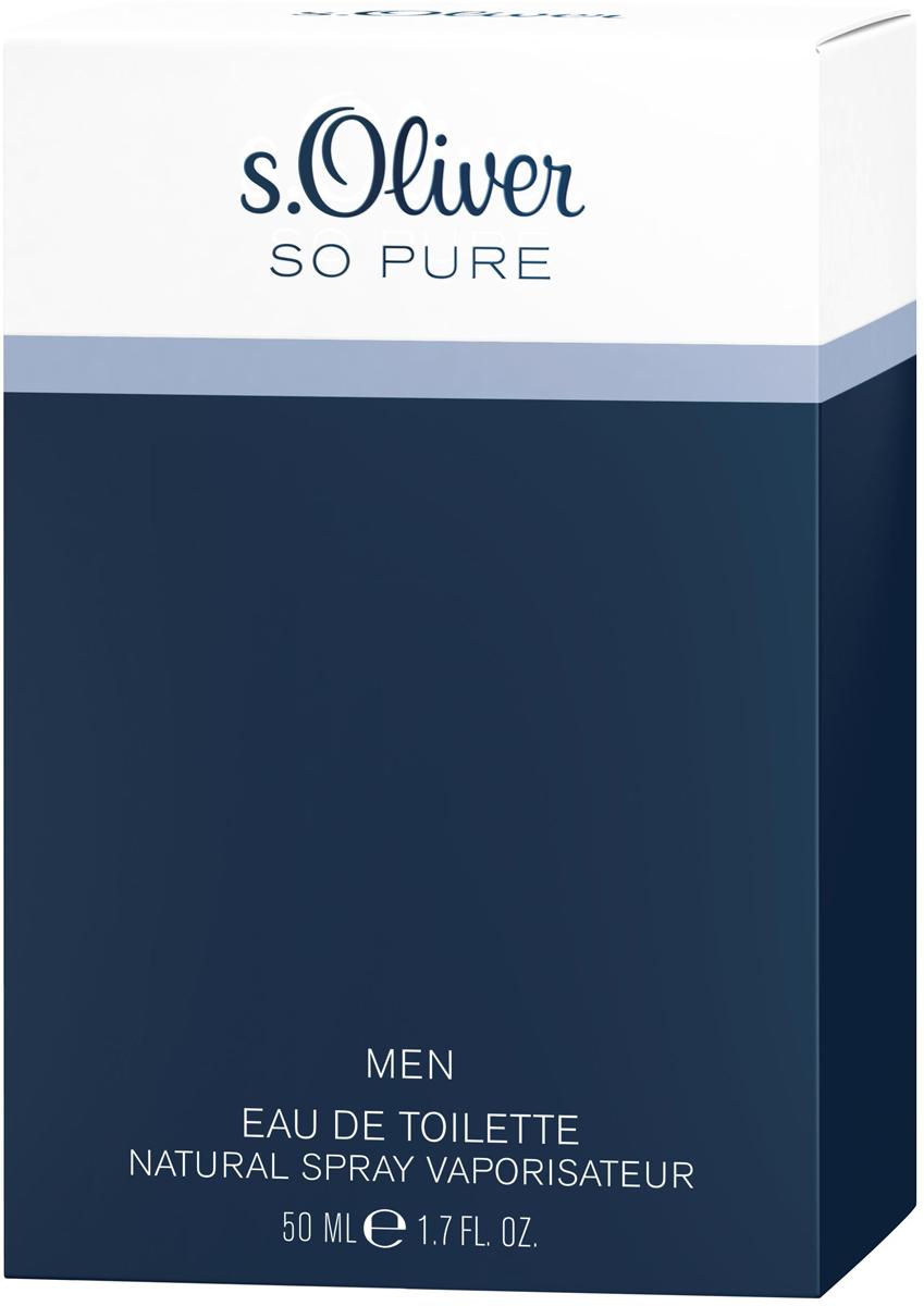 S.oliver So Pure Туалетная вода мужская, 50 мл4011700885015Предельный минимализм в дизайне флакона – обдуманный шаг. Ничто не должно отвлекать его владельца от самого аромата, изысканного и в то же время комфортного. На старте композиция s.Oliver So Pure Men освежает мужскую кожу ярким сочетанием нот бергамота, зеленого яблока и кардамона; в сердце она раскрывается цветочными, бархатисто-пряными оттенками лаванды, фиалки и герани, а завершается – сдержанными, мужественными и сильными аккордами кедра, сандала и амбры.