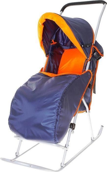 Фея Санки-коляска Метелица Люкс с тентом цвет оранжевый синийОВ-2419Тент складывается, имеется ремень безопасности, полозья из плоской металлической трубы, утепленный чехол для ног, регулируемые подставка для ног и сидение, жесткая спинка.