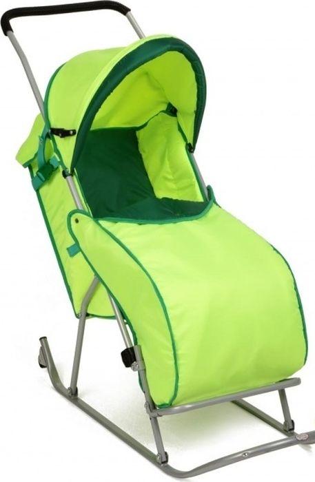 Фея Санки-коляска Метелица Люкс 1 с тентом цвет зеленый - Санки и снегокаты