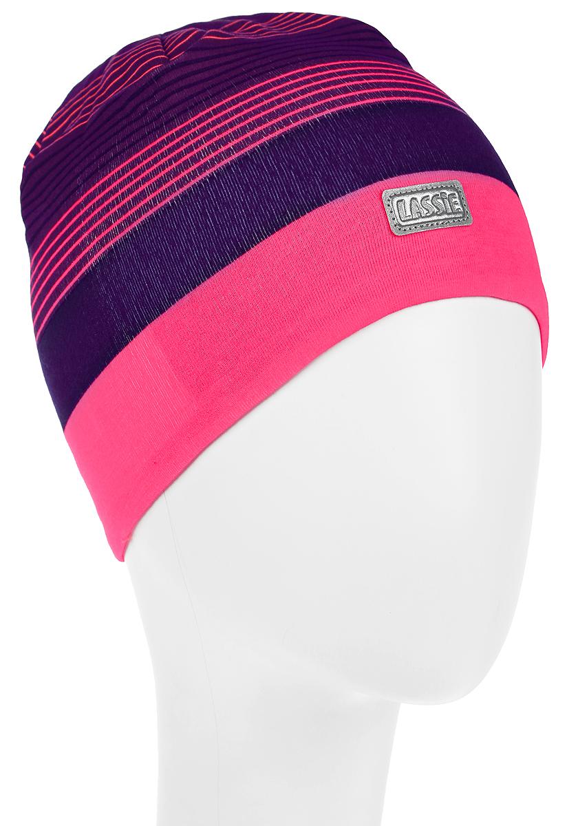 Шапка для девочки Lassie Beanie, цвет: фиолетовый, розовый. 728690-3380. Размер S (46/48)728690-3380Комфортная шапка для девочки Reima Lassie Beanie идеально подойдет для прогулок в холодное время года. Изделие, выполненное из хлопка и эластана, максимально сохраняет тепло, оно мягкое и идеально прилегает к голове. Мягкая подкладка выполнена из флиса, поэтому шапка хорошо сохраняет тепло и обладает отличной гигроскопичностью (не впитывает влагу, но проводит ее). Модель оформлена принтом в полоску и дополнена небольшой светоотражающей фирменной нашивкой.В такой шапке ваша дочурка будет чувствовать себя уютно и комфортно. Уважаемые клиенты!Размер, доступный для заказа, является обхватом головы.