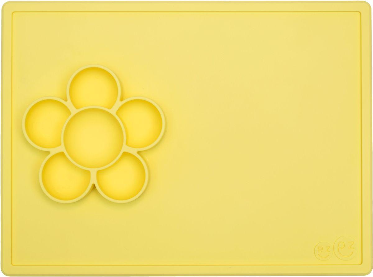 Ezpz Тарелка детская Play Mat цвет лимонныйPKPMY001Play Mat - лучшее решение для игры и творчества! Play Mat - это тарелочка-цветок + плейсмат из высококачественного силикона. Изделие плотно прилегает к столу, идеально подходит для рисования, сортировки фигурок Лего, бисероплетения, изготовления ожерелий, рисования маркерами и мелками, украшений для печенья – как захотите! Предназначен для малышей старше 9 месяцев. Развивают мелкую моторику Центр цветка подходит для воды, бусин и других материалов для творчества. Используется вместе с едой Изготовлен из высококачественного силикона,без содержания BPA, BPS, PVC, латекс и фталат Можно использовать в посудомоечной машине, микроволновой печи и духовке (до 350 градусов) Легко хранить Долговечный (силикон гибкий, не выгорает, не разъедает и не изнашивается)