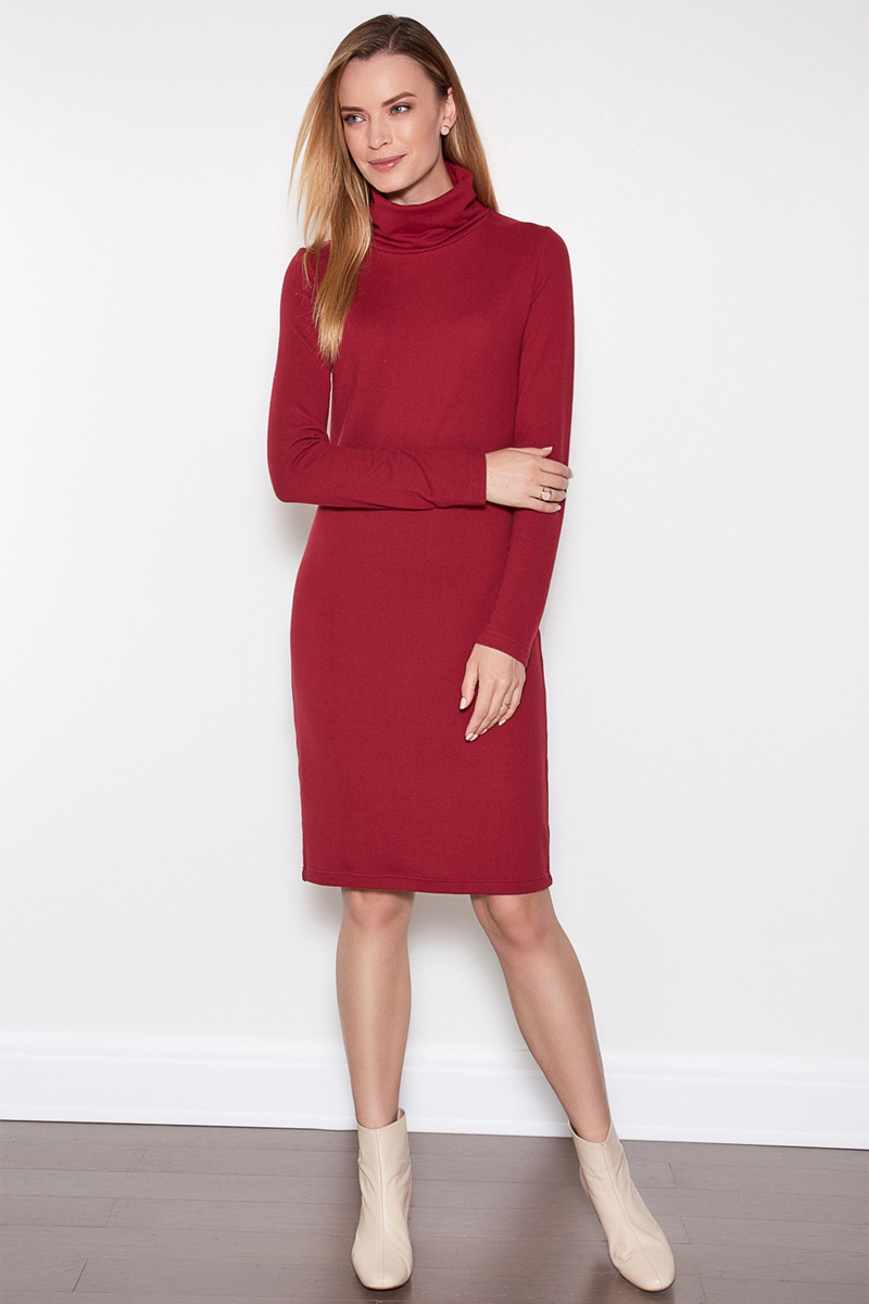 Платье женское Concept Club Porty1, цвет: бордовый. 10200200357. Размер XL (50)10200200357Платье Concept Club исполнено из полиэстера с добавлением эластана. Имеет воротник - стойка и длинные рукава. Плотно садится по фигуре.