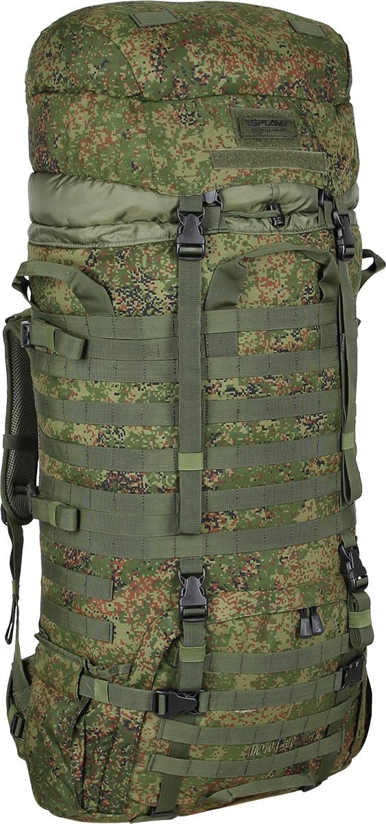 Рюкзак Сплав Raptor 100, цвет: камуфляж5032298Рейдовый рюкзак для длительных переходов. Классическая туристическая модель, адаптированная для военного использования.Съемные, регулируемые по высоте лямки. Большая ширина, анатомический силуэт. Два слоя пены и сетка Airmesh для мягкости и вентиляции. Верхние оттяжки. Ячейки PALS для крепления подсумков выполнены методом лазерной резки в усиленной ткани, что обеспечивает лямкам тонкий профиль и плоскую поверхность, не мешая прикладке оружия.Cпинка рюкзака благодаря многослойной структуре имеет высокую жесткость и обеспечивает отличную вентиляцию. Внутри вертикальные карманы для съемных лат. Спина имеет правильную анатомическую форму.Единый полнообъемный силовой каркас из строп, усиленная конструкция нижнего крепления лямок.Вся свободная внешняя площадь рюкзака обшита стропами MOLLE.На передней части клапана липучка для шевронов, съемный логотип в комплекте.Съемный широкий пояс. Боковые оттяжки, ячейки MOLLE для навески подсумков.Нижние боковые карманы-упоры с регулировкой объема.Тубус с двумя утяжками и двумя компрессионными ремнями.Съемный регулируемый по высоте клапан.В комплект входит защитная накидка, расположенная в отдельном кармане клапана.Точки крепления дополнительного груза на дне и клапане. Объем: 100 л.Вес: 2,5 кг.Основное отделение (Ш?В?Т): 40?80?25 см.Карман на клапане (Ш?В?Т): 40?26?8 см.Основная ткань: Polyester 600D.Фурнитура: Duraflex