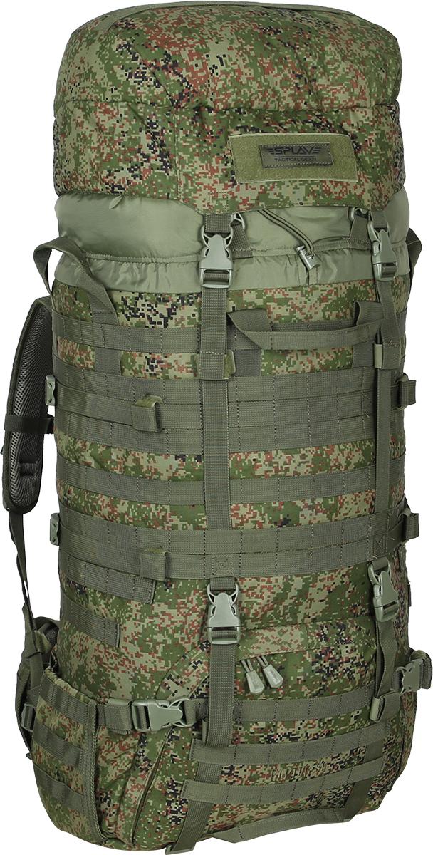 Рюкзак Сплав Raptor 80, цвет: камуфляж5024098Рейдовый рюкзак для длительных переходов. Классическая туристическая модель, адаптированная для военного использования.Съемные, регулируемые по высоте лямки. Большая ширина, анатомический силуэт. Два слоя пены и сетка Airmesh для мягкости и вентиляции. Верхние оттяжки. Ячейки PALS для крепления подсумков выполнены методом лазерной резки в усиленной ткани, что обеспечивает лямкам тонкий профиль и плоскую поверхность, не мешая прикладке оружия.Cпинка рюкзака благодаря многослойной структуре имеет высокую жесткость и обеспечивает отличную вентиляцию. Внутри вертикальные карманы для съемных лат. Спина имеет правильную анатомическую форму.Единый полнообъемный силовой каркас из строп, усиленная конструкция нижнего крепления лямок.Вся свободная внешняя площадь рюкзака обшита стропами MOLLE.На передней части клапана липучка для шевронов, съемный логотип в комплекте.Съемный широкий пояс. Боковые оттяжки, ячейки MOLLE для навески подсумков.Нижние боковые карманы-упоры с регулировкой объема.Тубус с двумя утяжками и двумя компрессионными ремнями.Съемный регулируемый по высоте клапан.В комплект входит защитная накидка, расположенная в отдельном кармане клапана.Точки крепления дополнительного груза на дне и клапане. Объем: 80 л.Вес: 2,5 кг.Основное отделение (Ш?В?Т): 40?80?24 см.Карман на клапане (Ш?В?Т): 35?26?7 см.Основная ткань: Polyester 600D.Фурнитура: DuraflexЧто взять с собой в поход?. Статья OZON Гид