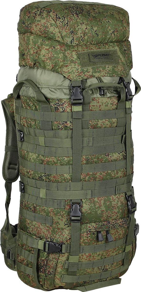Рюкзак Сплав Raptor 60, цвет: камуфляж5021198Рейдовый рюкзак для длительных переходов. Классическая туристическая модель, адаптированная для военного использования.Съемные, регулируемые по высоте лямки. Большая ширина, анатомический силуэт. Два слоя пены и сетка Airmesh для мягкости и вентиляции. Верхние оттяжки. Ячейки PALS для крепления подсумков выполнены методом лазерной резки в усиленной ткани, что обеспечивает лямкам тонкий профиль и плоскую поверхность, не мешая прикладке оружия.Cпинка рюкзака благодаря многослойной структуре имеет высокую жесткость и обеспечивает отличную вентиляцию. Внутри вертикальные карманы для съемных лат. Спина имеет правильную анатомическую форму.Единый полнообъемный силовой каркас из строп, усиленная конструкция нижнего крепления лямок.Вся свободная внешняя площадь рюкзака обшита стропами MOLLE.На передней части клапана карман для крепящегося снаружи двухстороннего бейджа. Одна сторона – для удостоверения (прозрачный карман), другая – светоотражающая. Бейдж крепится на липучке, ее же можно использовать для шевронов. В комплекте съемный логотип на липучке.Съемный широкий пояс. Боковые оттяжки, ячейки MOLLE для навески подсумков.Нижние боковые карманы-упоры с регулировкой объема.Тубус с двумя утяжками и двумя компрессионными ремнями.Съемный регулируемый по высоте клапан с внешним объемным карманом на молнии.В комплект входит защитная накидка, расположенная в отдельном кармане клапана.Точки крепления дополнительного груза на дне и клапане. Объем: 60 л.Вес: 2,36 кг.Основное отделение (Ш?В?Т): 38?75?20 см.Карман на клапане (Ш?В?Т): 30?20?9 см.Основная ткань: Polyester 600D.Фурнитура: Duraflex