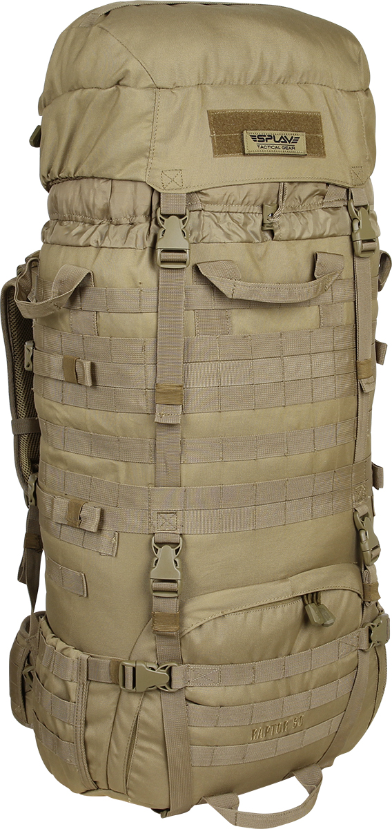 Рюкзак Сплав Raptor 80, цвет: камуфляж5024025Рейдовый рюкзак для длительных переходов. Классическая туристическая модель, адаптированная для военного использования.Съемные, регулируемые по высоте лямки. Большая ширина, анатомический силуэт. Два слоя пены и сетка Airmesh для мягкости и вентиляции. Верхние оттяжки. Ячейки PALS для крепления подсумков выполнены методом лазерной резки в усиленной ткани, что обеспечивает лямкам тонкий профиль и плоскую поверхность, не мешая прикладке оружия.Cпинка рюкзака благодаря многослойной структуре имеет высокую жесткость и обеспечивает отличную вентиляцию. Внутри вертикальные карманы для съемных лат. Спина имеет правильную анатомическую форму.Единый полнообъемный силовой каркас из строп, усиленная конструкция нижнего крепления лямок.Вся свободная внешняя площадь рюкзака обшита стропами MOLLE.На передней части клапана липучка для шевронов, съемный логотип в комплекте.Съемный широкий пояс. Боковые оттяжки, ячейки MOLLE для навески подсумков.Нижние боковые карманы-упоры с регулировкой объема.Тубус с двумя утяжками и двумя компрессионными ремнями.Съемный регулируемый по высоте клапан.В комплект входит защитная накидка, расположенная в отдельном кармане клапана.Точки крепления дополнительного груза на дне и клапане. Объем: 80 л.Вес: 2,5 кг.Основное отделение (Ш?В?Т): 40?80?24 см.Карман на клапане (Ш?В?Т): 35?26?7 см.Основная ткань: Polyester 600D.Фурнитура: Duraflex