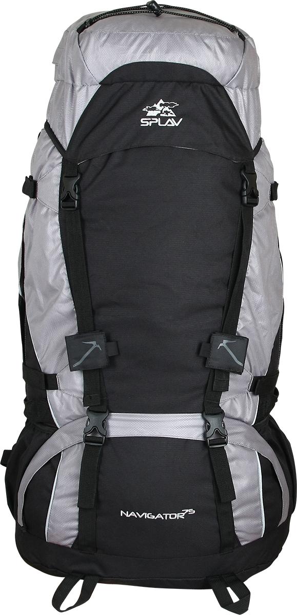 Рюкзак туристический Сплав Navigator 75, цвет: серый, черный, 75 л5023850Функциональный рюкзак Сплав Navigator 75 для походов и путешествий выполнен с регулируемой подвесной системой. Съемный пояс позволяет эффективно перераспределять нагрузку. Основной объем разделяется съемной перегородкой на молнии. Рюкзак имеет нижний вход.Боковые стенки оснащены двумя малыми карманами для переноски длинномерных грузов. Боковые карманы можно изменять в объеме. Влагозащитная накидка в донном кармане. Дополнительные ручки для погрузки/разгрузки по бокам.Два крепления для скально-ледового снаряжения. Точка для крепления питьевой системы. Выход трубки питьевой системы непосредственно в лямку под правую руку.Объем: 75 л.Вес: 2,66 кг.Основное отделение (ШхВхТ) - 40 х 70 х 23 см.Карман верхнего клапана (ШхВхТ) - 40 х 10 х 23 см.