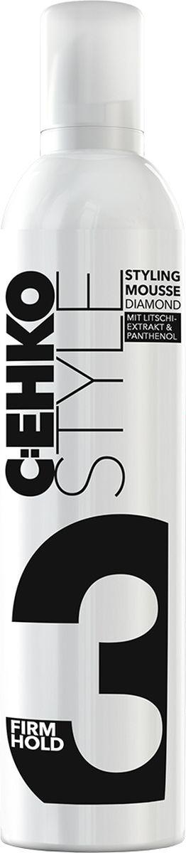 C:EHKO Пена для укладки волос Диамант (Style styling mousse diamond), 400 мл363265Новая формула для стайлинга и ухода от C:EHKO заметно улучшает качество волос.Пена для укладки волос C:EHKO ДИАМАНТ обеспечивает максимальную и стойкую фиксацию волос, не утяжеляя их. Экстракты личи препятствуют стрессовому воздействию ультрафиолетовых лучей яркого солнечного света. Они ухаживают за повреждёнными волосами и придают им здоровый вид. Пантенол и пшеничный протеин увлажняют волосы и придают им естественный объём. Не содержит спирт.