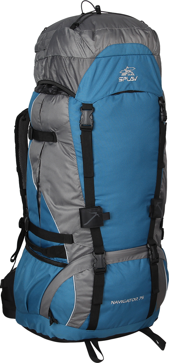 Рюкзак туристический Сплав Navigator 75, цвет: синий, серый, 75 л5023860Функциональный рюкзак Сплав Navigator 75 для походов и путешествий выполнен с регулируемой подвесной системой.Съемный пояс позволяет эффективно перераспределять нагрузку. Основной объем разделяется съемной перегородкой на молнии. Рюкзак имеет нижний вход.Боковые стенки оснащены двумя малыми карманами для переноски длинномерных грузов. Боковые карманы можно изменять в объеме. Влагозащитная накидка в донном кармане. Дополнительные ручки для погрузки/разгрузки по бокам. Два крепления для скально-ледового снаряжения. Точка для крепления питьевой системы. Выход трубки питьевой системы непосредственно в лямку под правую руку.Объем: 75 л.Вес: 2,66 кг.Основное отделение (ШхВхТ) - 40 х 70 х 23 см.Карман верхнего клапана (ШхВхТ) - 40 х 10 х 23 см.Что взять с собой в поход?. Статья OZON Гид