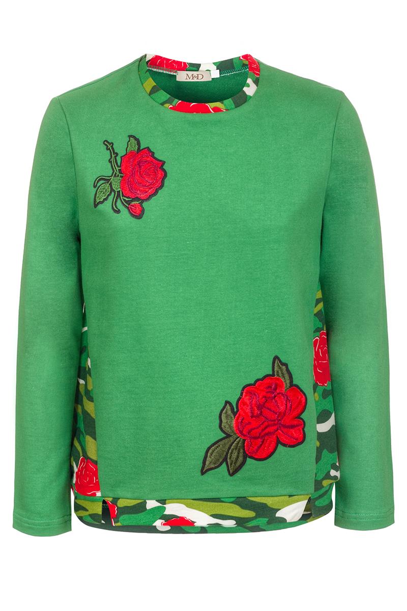 Свитшот для девочки M&D, цвет: зеленый, красный. WJK27035M22. Размер 128WJK27035M22Яркий свитшот для девочки M&D, оформленный спереди принтом и нашивками в виде роз, разнообразит повседневный гардероб ребенка. Модель прямого кроя с удлиненной спинкой выполнена из натурального хлопка. Круглый вырез горловины, низ изделия и манжеты рукавов дополнены мягкими трикотажными резинками. Свитшот подойдет для прогулок и дружеских встреч и станет отличным дополнением гардероба каждой девочки.