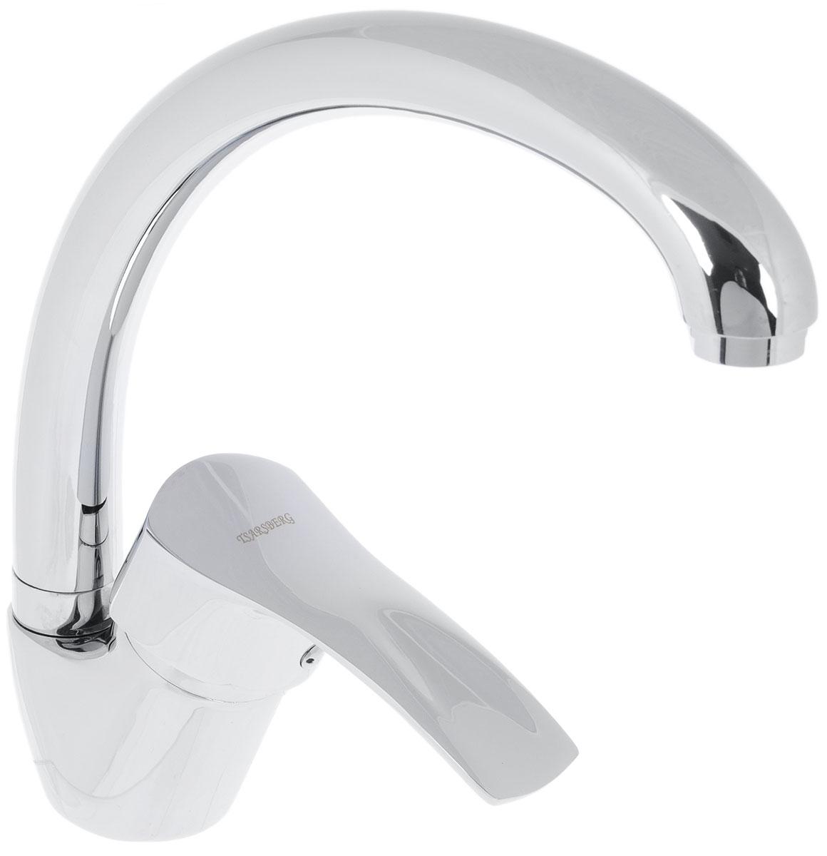 Смеситель для кухни Tsarsberg, с поворотным изливом. ИС.240029ИС.240029Смеситель для ванны Fauzt изготовлен из высококачественного силумина. Инновационныетехнологии литья и обработки силумина, а также увеличенная толщина стенок смесителяобеспечивают его стойкость к перепадам давления и температур.Покрытие полностьюсоответствует европейским стандартам качества, обеспечивает его стойкость и зеркальныйблеск в течение всего срока службы изделия.Массажная душевая лейка и шлангизготовлены с шаровым переключением.Смеситель имеет поворотный высокий излив 35 см. Керамический картридж 40 мм.Крепление шпилька.