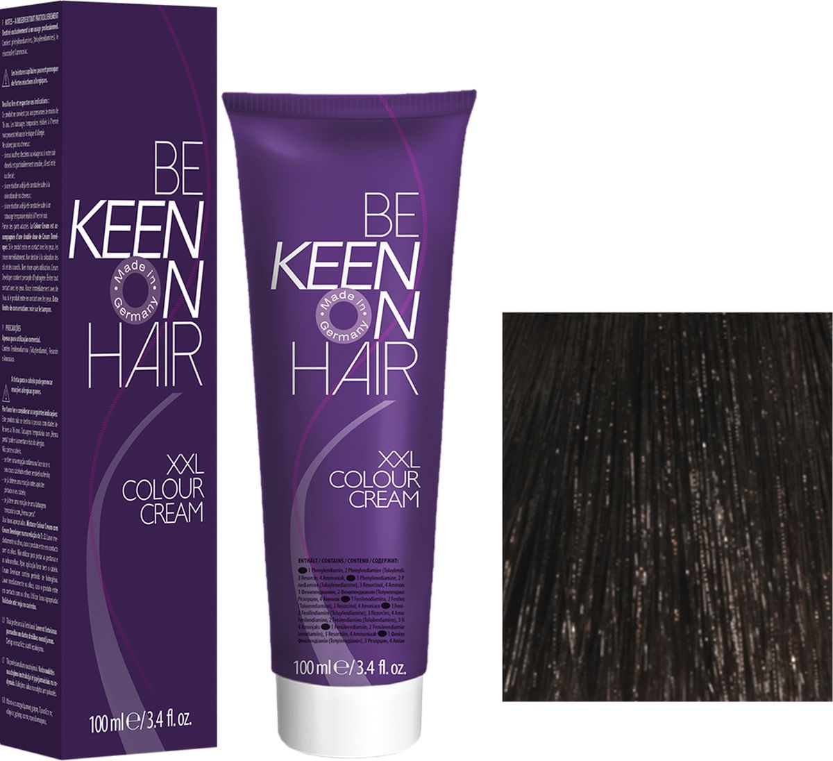Keen Краска для волос 4.0 Коричневый Mittelbraun, 100 мл68801750Модные оттенкиБолее 100 оттенков для креативной комбинации цветов.ЭкономичностьПри использовании тюбика 100 мл вы получаете оптимальное соотношение цены и качества!УходМолочный белок поддерживает структуру волоса во время окрашивания и придает волосам блеск и шелковистость. Протеины хорошо встраиваются в волосы и снабжают их влагой.