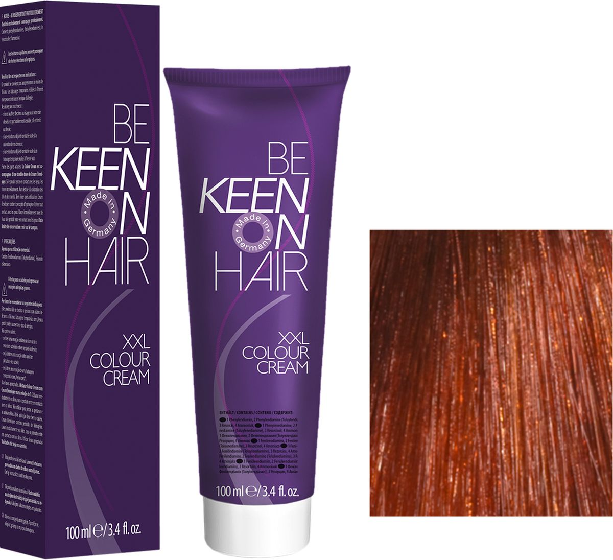 Keen Краска для волос 7.4 Натуральный медный блондин Mittelblond Kupfer, 100 мл69100058Модные оттенкиБолее 100 оттенков для креативной комбинации цветов.ЭкономичностьПри использовании тюбика 100 мл вы получаете оптимальное соотношение цены и качества!УходМолочный белок поддерживает структуру волоса во время окрашивания и придает волосам блеск и шелковистость. Протеины хорошо встраиваются в волосы и снабжают их влагой.