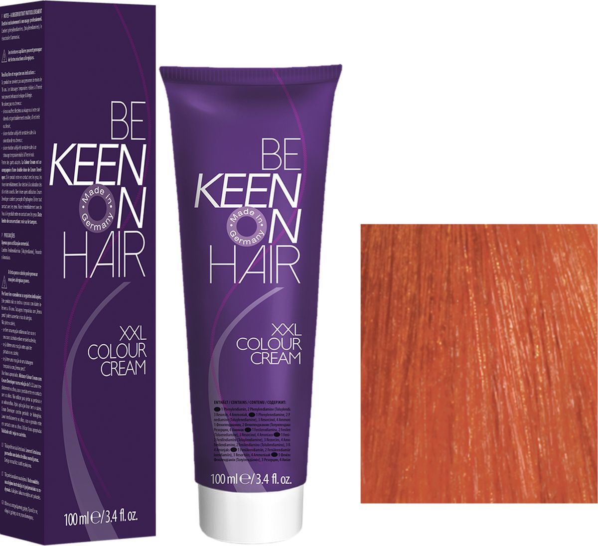 Keen Краска для волос 7.44 Натуральный интенсивно-медный блондин Mittelblond Kupfer-Intensiv, 100 мл69100060Модные оттенкиБолее 100 оттенков для креативной комбинации цветов.ЭкономичностьПри использовании тюбика 100 мл вы получаете оптимальное соотношение цены и качества!УходМолочный белок поддерживает структуру волоса во время окрашивания и придает волосам блеск и шелковистость. Протеины хорошо встраиваются в волосы и снабжают их влагой.