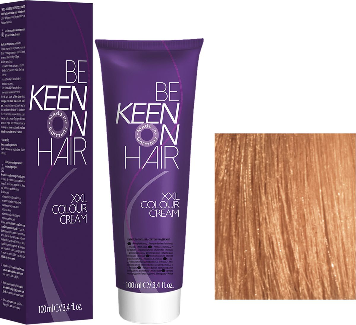 Keen Краска для волос 8.34 Золотисто-медный блондин Blond Gold-Kupfer, 100 мл69100074Модные оттенкиБолее 100 оттенков для креативной комбинации цветов.ЭкономичностьПри использовании тюбика 100 мл вы получаете оптимальное соотношение цены и качества!УходМолочный белок поддерживает структуру волоса во время окрашивания и придает волосам блеск и шелковистость. Протеины хорошо встраиваются в волосы и снабжают их влагой.