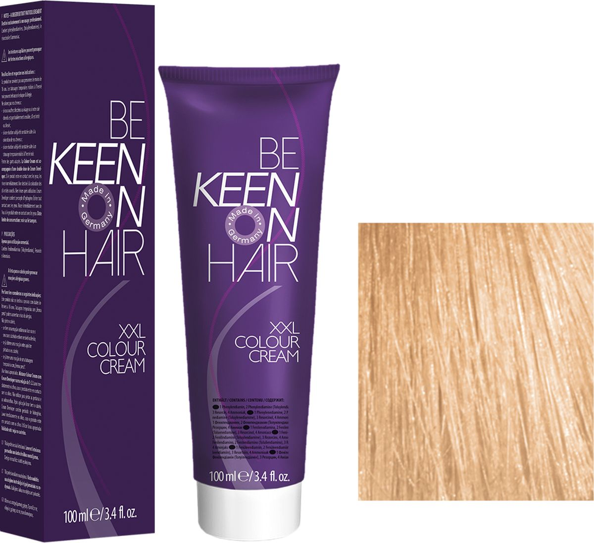 Keen Краска для волос 10.3 Ультра-светлый золотистый блондин Ultrahellblond Gold, 100 мл69100098Модные оттенкиБолее 100 оттенков для креативной комбинации цветов.ЭкономичностьПри использовании тюбика 100 мл вы получаете оптимальное соотношение цены и качества!УходМолочный белок поддерживает структуру волоса во время окрашивания и придает волосам блеск и шелковистость. Протеины хорошо встраиваются в волосы и снабжают их влагой.