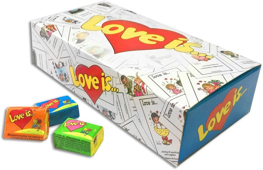 Love is 25 Историй жевательная резинка, 25 шт70143Волшебная коробочка с 25 жевательными резинками Love Is - это не только известная жвачка, но забавные картинки на вкладышах. Каждая жвачка имеет два вкуса, которые символизируют любовь двух фруктов. Приятный сюрприз и знак внимания поможет вашей истории зазвучать в Love Is style.
