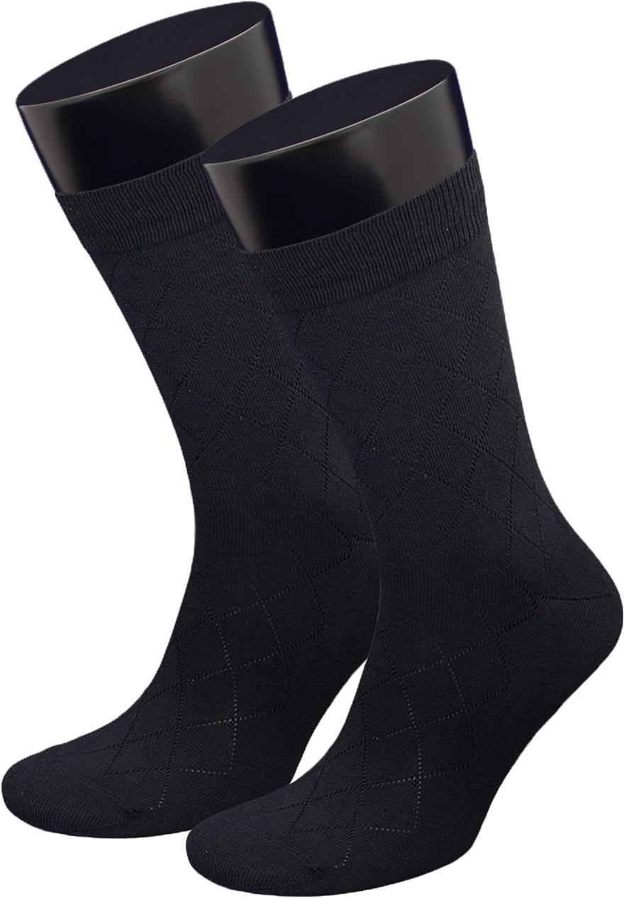 Носки мужские Гранд, цвет: черный, 2 пары. ZCP173. Размер 25ZCP173Классические мужские носки из хлопка для повседневной носки: - текстурный рисунок по всему носку Ромбы; - не линяют после многочисленных стирок; - усилены пятка и мысок; - анатомическая резинка. Носки долгое время сохраняют форму и цвет, а так же обладают терморегулирующими свойствами. В комплект входят две пары носок.