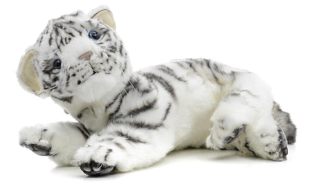 Hansa Мягкая игрушка Белый тигренок лежащий 26 см мягкая игрушка медведь hansa 4982 искусственный мех черный 90 см лежащий