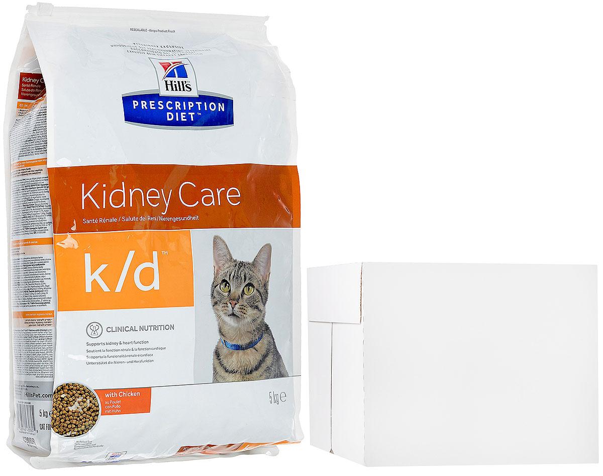 """Корм сухой Hills Prescription Diet k/d, для кошек, при заболеваниях почек и урологическом синдроме, 5 кг + ПОДАРОК: Консервы для кошек Hills Prescription Diet k/d, курица, 85 г, 12 шт4308Рацион Hills Prescription Diet k/d клинически протестирован, разработан для поддержания и коррекции состояния у животных, имеющих проблемы со здоровьем при сохранении превосходных вкусовых характеристик.Рекомендуется:- При хронических заболеваниях почек. - При заболеваниях сердца. - При уратном и цистиновом уролитиазе.Не рекомендуется:- Котятам.- Беременным и кормящим кошкам.- Кошкам с дефицитом натрия в организме.Ключевые преимущества:- Сниженное содержание фосфора помогает замедлить развитие заболевания почек.- Контролируемое содержание протеина помогает снизить накопление токсичных продуктов белкового обмена, в то же время удовлетворяя потребность организма в протеинах. Уменьшает концентрацию в моче компонентов уратных и цистиновых уролитов- Повышенное содержание непротеиновых калорий помогает обеспечить поступление энергии и не допускает катаболизма протеинов.- Повышенная буферная емкость рациона препятствует развитию метаболического ацидоза.- Омега-3-жиные кислоты улучшают почечный кровоток.- Содержание натрия снижено, что помогает замедлить развитие заболевания почек. Уменьшает задержку воды в организме на ранних стадиях заболеваний сердца.- Повышенное содержание растворимой клетчатки уменьшает реабсорбцию аммония в кишечнике. Помогает понизить концентрацию мочевины в крови.- Повышенное содержание витаминов группы """"В"""" восполняют потери данных витаминов при полиурии.- Антиоксидантная формула нейтрализует действие свободных радикалов для поддержания функции почек.В подарок к сухому корму идут 12 паучей с консервированным кормом.Состав: размолотый рис, мука из кукурузного глютена, животный жир, мука из мяса курицы и индейки,сухое цельное яйцо, минералы, рыбий жир, целлюлоза, гидролизат куриного белка, сухая свекольная пульпа, семя льна, DL-метионин, соевая мука, витамины, таурин,"""