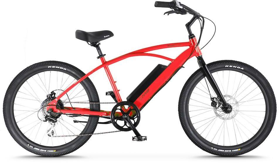 Электровелосипед Jucied Bikes Ocean Current 11, цвет: красный. OS11SROS11SRЭлектровелосипед Jucied Bikes Ocean Current 11 отличается очень высоким качеством изготовления стандартной рамы и красочного покрытия. Это обеспечивает надежность и безопасность велогибрида. И на нем очень приятно ездить.С левой стороны расположена панель управления, на ней имеются следующие функции: уровень заряда аккумулятора, режимы скоростей и кнопка включения/выключения.Правая ручка дополнена удобным механическим тормозом. Дисковые механические тормоза обеспечивают плавное торможение, и уверенную остановку практически на любой поверхности.Педали с широкой платформой дополнены небольшими шипами, что позволяет удобно и надежно поставить ногу.Передняя амортизационная вилка, достойно отработает все неровности, спуски и ямы, которые попадут под переднее колесо.Электродвигатель в паре с емким аккумулятором 10,4Ah за считанные секунды разгоняют данный велогибрид до 50 км/ч.Характеристики:Новые более мощные велогибриды имеют 9 транзисторных контроллеров 48 вольт.Максимальная скорость: 50 км/ч.Дальность хода: до 90 км.Редукторный двигатель: 500 Вт.Датчик хода и датчик дроссельной заслонки.1 7.4 AA Super Extended Range & 8,8 Ah Hyper Extended Range Packs совместимы со всеми OceanCurrents.Классический стиль крейсера прекрасно сочетается с балансной батареей на 48 В.Современные чувствительные педали усиливают прокрутку до 1000 раз в секунду. Сгладьте полосу или поднимите скорость до 50 километров в час.