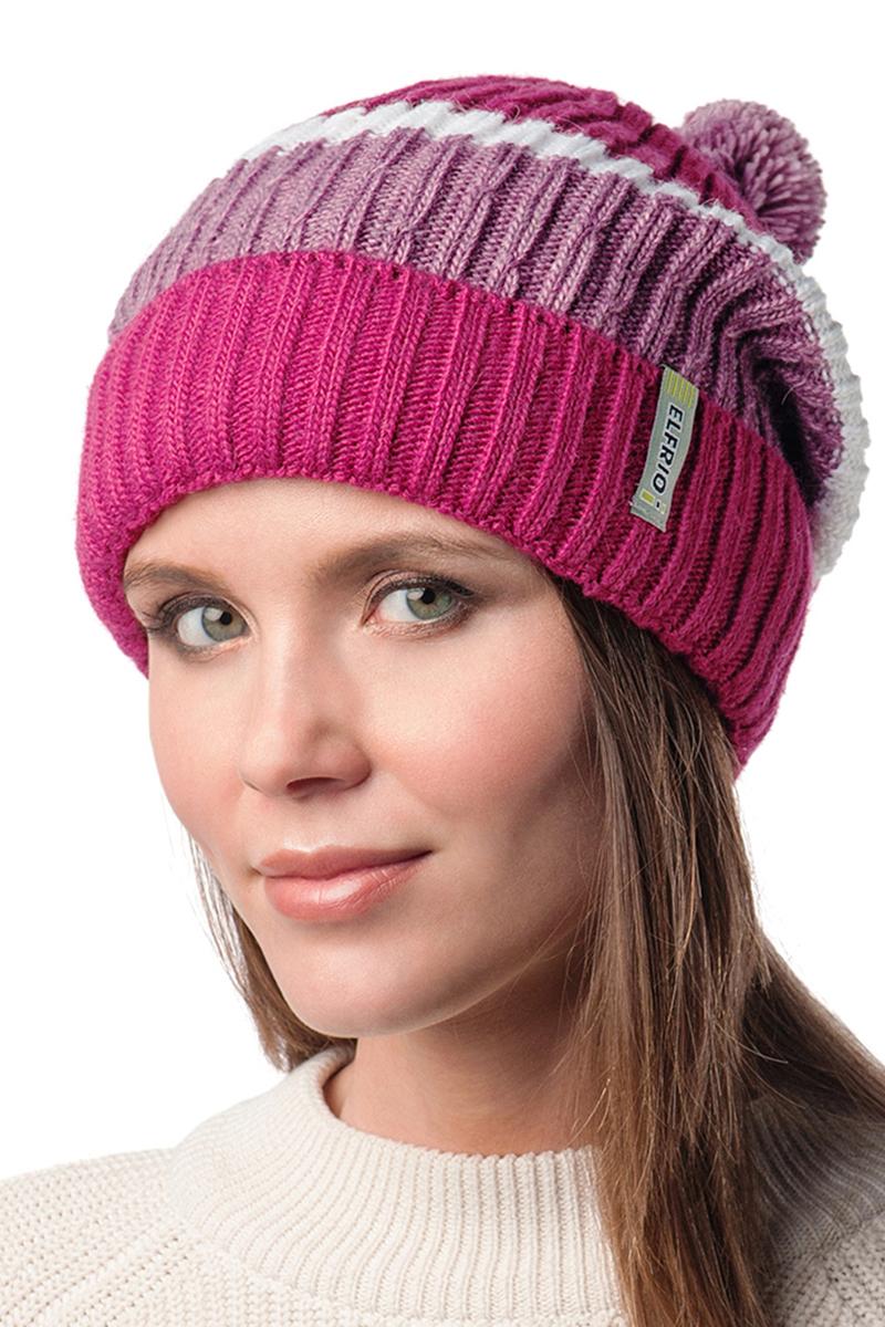 Шапка женская Elfrio, цвет: розовый, сиреневый, белый. Размер 56/58. RWH6502/2RWH6502/2Стильная шапка Elfrio с помпоном из пряжи, выполненная из теплого комфортного материала. Модель отлично подходит для молодых и активных. Незаменимая вещь для прохладной погоды. Придаст вашему образу оригинальность.