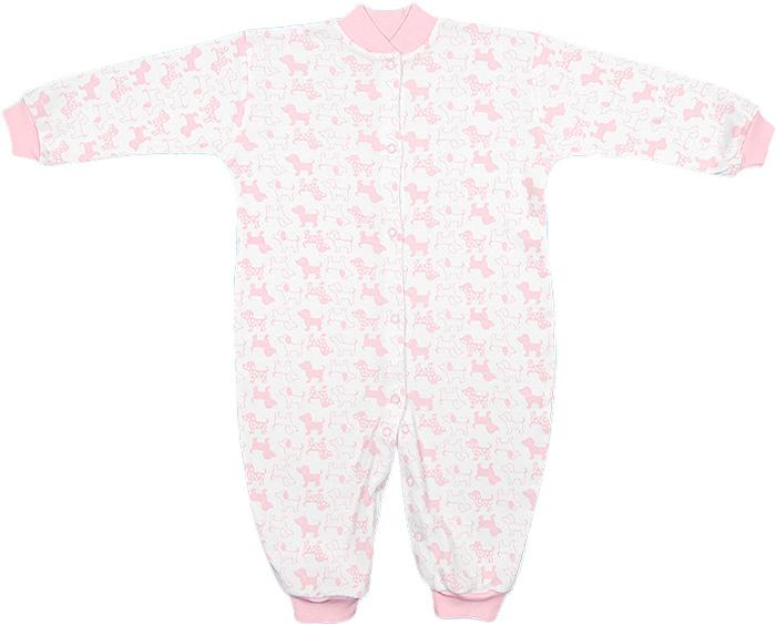 Комбинезон домашний для девочки Чудесные одежки, цвет: белый, розовый. 5843. Размер 685843